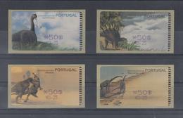 Portugal ATM Dinosaurier, 4 Motive Esc./€  Druck Amiel,  Mi.-Nr. 29-32.2 Z1 - ATM/Frama Labels