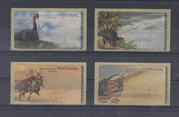 Portugal ATM Dinosaurier, 4 Motive Esc./€  Druck SMD, AZUL  Mi.-Nr. 29-32.1 Z2 - ATM/Frama Labels
