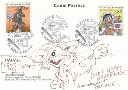 CP - OBLITERATION  PLAISIR D'ECRIRE 63 BOURG LASTIC  25.10.1993  - DESSIN PATRICK PRUGNE POUR L'UPPTT AUVERGNE / 1 - Autres Communes