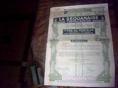 Titre Au Porteur  De 4.000 Francs La Sequanaise De Capitalisation Aout 1941 - Actions & Titres