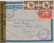 Lettre Boulouparis France Libre Censore Alliee Nouvelle Caledonie Croix Rouge - Neukaledonien