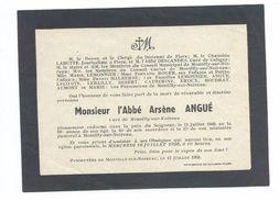 FAIRE-PART AVIS De DECES MEMENTO..Abbé Arsène ANGUE, Curé De MONTILLY Sur NOIREAU (61) En 1958 à L'âge De 89 Ans - Décès