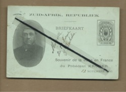 Carte- Zuid Afrik- Républiek- Briefkaart- Souvenir De La Visite En France Du Président Kruger -cachet De La Poste 1900 - Personnages