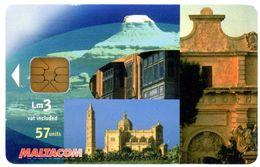 Malta. Maltacom. Cathedral. Windmill. Moulin à Vent. Lm 3 Vat Included. 57 Units. - Malta