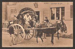 - ROMA - Carrettière Da Vino - Transport De Vin - Mule Et Charette , Barrique , Marchand De Vin - Transports