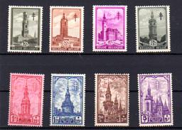 1939  « Les Beffrois », 519 / 526**, Cote 65 € - Belgique