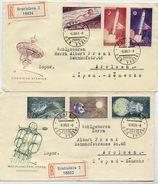 CZECHOSLOVAKIA 1961 Space Exploration Set On 2 FDC's.  Michel 1252-57 - FDC