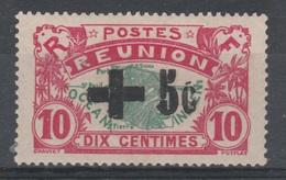 Réunion Island, Red Cross, Overprint +5c. In Black, 1915, MH VF  Scarce - Réunion (1852-1975)