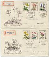 CZECHOSLOVAKIA 1960 Flowers Set On 2 FDC's.  Michel 1234-39 - FDC
