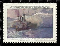 Austrian Poster Stamps, Reklamemarke, Cinderellas, Battleship, Schlachtschiff, Ship, Boat, Montenegro, Fort Lovcen - Bateaux