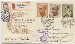CZECHOSLOVAKIA 1952 Myslbek Anniversary Set On  FDC.  Michel 734-36 - FDC