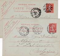 Carte Postale ( 2 X )     Ambulants  => Paris - Erquelines  &  Erqueli Nes Paris /   1910 Et 1911 - Marcophilie (Lettres)