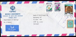 Iran: Airmail Cover To Netherlands, 4 Stamps, Museum Day, Flowers (banking Stamp & Back Damaged) - Iran