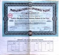 """Lot De 4  Actions Nominatives Ordinaires De Cent Francs""""Manufacture Des Engrais """"Novo"""" """" - Agriculture"""