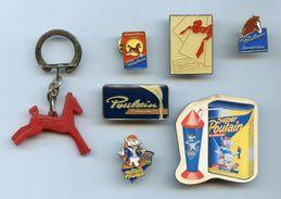 """PINS - PIN'S  JOLI LOT """"CHOCOLAT POULAIN"""" - SUPER POULAIN  - 5 PIN'S + 1 MAGNET + 1 PORTE-CLÉS - Badges"""