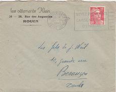 """Enveloppe Commerciale 1949 / Vêtements KLEIN / 76 Rouen / Flamme Rouen Gare """" Soyez Prévoyants/Caisse Nationale Epargne"""" - Maps"""