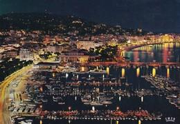 Postcard Cannes Le Port Et La Croisette La Nuit My Ref B22089 - Cannes