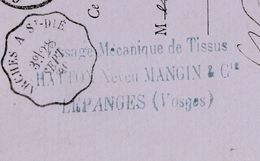 Carte Commerciale 1880 / HATTON Neveu MANGIN / Tissage Mécanique Tissus / 88 Lepanges Vosges - Cartes