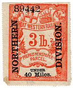 (I.B) Great Western Railway : Newspaper Parcel 3lb (Northern Division) - 1840-1901 (Victoria)