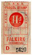 (I.B) London & North Eastern Railway : Parcel Stamp 11d (Falkirk) - 1840-1901 (Victoria)