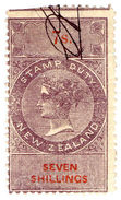 (I.B) New Zealand Revenue : Stamp Duty 7/- (1867) Reversed/inverted Watermark - New Zealand