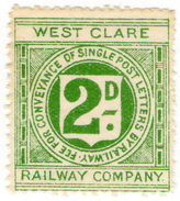 (I.B) West Clare Railway : Letter Stamp 2d - 1840-1901 (Victoria)