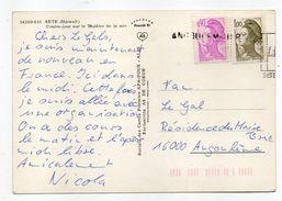 Griffe Linéaire  ANGOULEME R.P  Sur Tp Liberté Le Tout Sur Carte Postale SETE-34 - Marcophilie (Lettres)