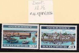1969 Guernsey SERIE ORDINARIA 2v.: 17/18 MNH**  DEFINITIVE  VIEWS - Guernesey
