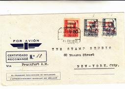 Las Palmas To New York City. Cover Raccomandata Via Frankfurt 1937 - 1931-50 Storia Postale