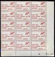 Bloc De 15 Vignettes Code Postal  Avec Gomme Intacte 1979 - Code Postal