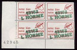 Bloc De 4 Vignettes Code Postal Surchargées 42152 L Horme - Zipcode