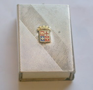 ITALY ,  Old Silver Plated Matches Holder With Italian Navy Coat Of Arms - Scatole Di Fiammiferi