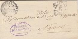 Galatina. 1899. Annullo Tondo Riquadrato + Annulo PRETURA DI GALATINA + Testo, Su Lettera In Franchigia - Marcofilie