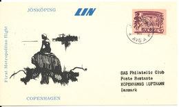 Denmark First Flight Card LIN First Metropolitan Flight Copenhagen - Jönköping 5-9-1966 - Denemarken