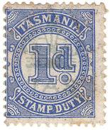(I.B) Australia - Tasmania Revenue : Stamp Duty 1d (underprint) - Australia