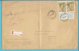854 Op Brief Aangetekend Met Stempel TINTIGNY (VK) - 1951-1975 Heraldischer Löwe (Lion Héraldique)
