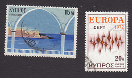 Cyprus, Scott #371, 380, Used, Arch And Castle, Sparkles, Issued 1971-72 - Used Stamps
