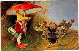 CPA Gnome Nain Lutin Type Thièle Série 215 éditeur HKCM SCHLITT Non Circulé Champignon Mushroom Grenouille Frog - Other Illustrators