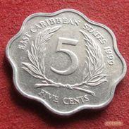 East Caribbean States 5 Cents 1999 KM# 12  Caribbean Caraibas Caraibes Orientales - East Caribbean States