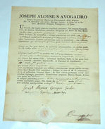 Autografo Joseph Aloysius Avogadro Matrimonio Nulla Osta Casale Monferrato 1789 - Autographes
