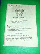 Decreti Regno Sardegna Convenzione Corrispondenze Telegrafiche Svizzera 1853 - Old Paper