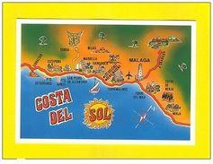 POSTCARD MAPS MAP ANDALUCIA SPAIN ESPAÑA ESPAGNE COSTA DEL SOL MALAGA NERJA   Z1 - Postcards