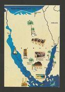 ART POSTCARD MAPS MAP EGPYT CAIRO RED SEA PYRAMIDS SAHARA DESERT Z1 - Postcards