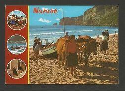 Postcard 1960s BULLS OXEN Pulling Boats NAZARE NAZARÉ PORTUGAL Z1 - Postcards