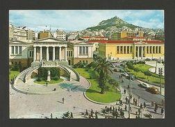 GREECE ATHENS 1960s Library & Cars Car Bus Postcard  Z1 - Postcards