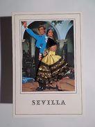 SILK EMBROIDERED PC GLAMOUR COUPLE DANCE FLAMENCO SEVILLA SPAIN ESPAÑA ESPAÑA Z1 - Postcards