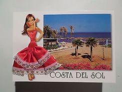 SILK EMBROIDERED POP ART PC GLAMOUR GIRL COSTA DEL SOL SPAIN ESPAÑA ESPANA Z1 - Postcards