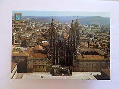 SPAIN ESPAÑA GALICIA SANTIAGO DE COMPOSTELA CATHEDRAL AERIAL VIEW 1970s PC Z1 - Postcards