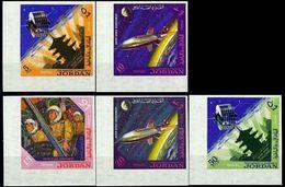 JORDAN 1965 Space Pagoda CORNER.IMPERF.SET:5 [non Dentelé,Geschnitten,no Dentado,non Dentellato,ogetande] - United States