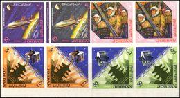 JORDAN 1965 Space Pagoda MARG.IMPERF.PAIRS:5 [non Dentelé,Geschnitten,no Dentado,non Dentellato,ogetande] - United States